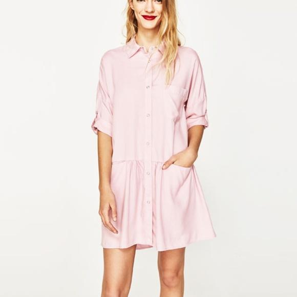 b867e93b9a62 Zara Pastel Pink Shirt Dress with Frill